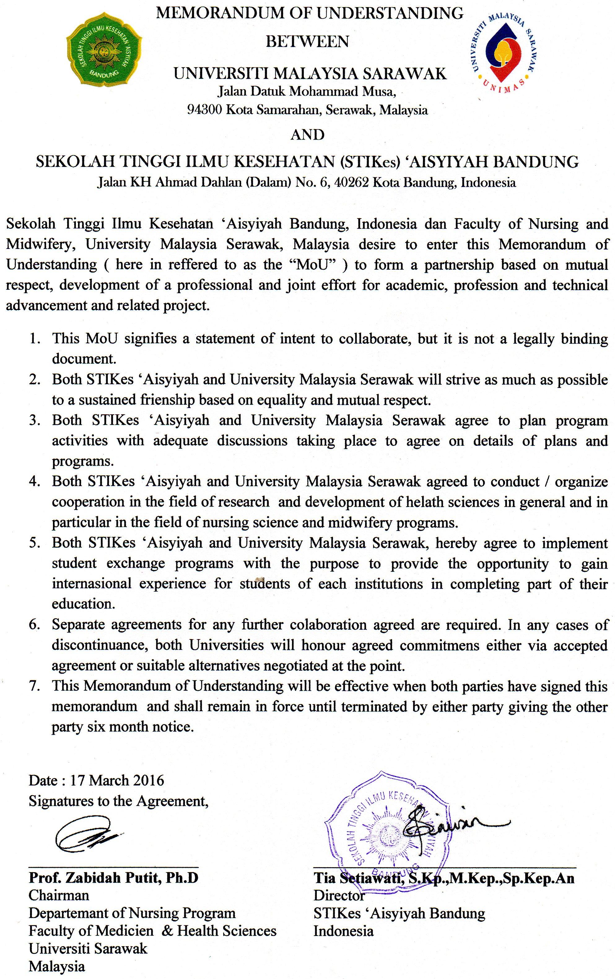 MOU dengan Universiti Malaysia Sarawak, Serawak Malaysia