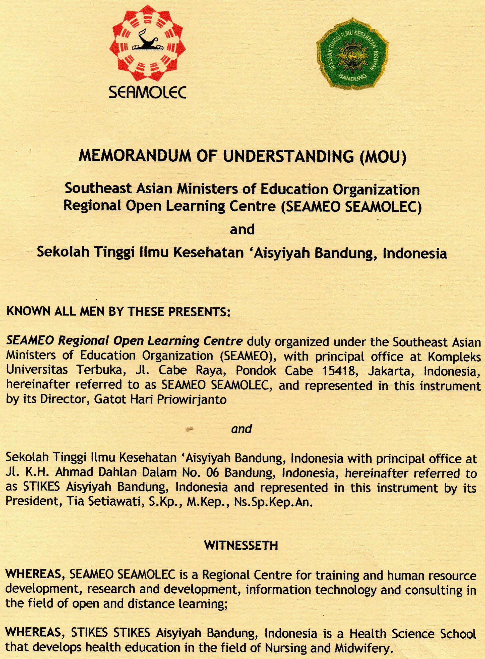 MOU dengan Southeast Asian Ministers of Education Organization Regional Open Learning Center (SEAMEO SEAMOLEC)